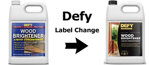 Defy Wood Brightener Label Change